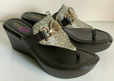 NEW! GUESS DAYS BROWN SIGNATURE LOGO PLATFORM WEDGES SANDALS SHOES 6.5 37 SALE