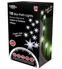 10 Led Battery Operated 35 cm White Star Path Stake Lights