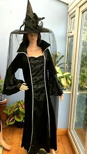 Deluxe Premium Beautiful Witch Fancy Dress Halloween Outfit Dress and Hat Size L