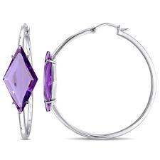 Amour Sterling Silver 12 1/2 Ct TW Amethyst Prism Hoop Earrings