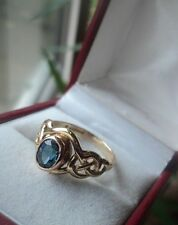 EARLY Welsh 9ct Clogau Gold Blue Topaz Celtic Ring h/m 2000  -  size L