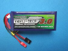 TURNIGY NANO-TECH 3000mAh 2S 7.4V LIPO BATTERY JR FUTABA JST Rx HELI AIRPLANES