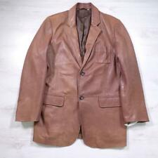 Mens REISS Brown Designer Soft Leather Jacket Blazer Coat Large #D4696