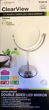 """ClearView 7.5"""" Rotation LED Double Sided Mirror 5X Magnify Make Up MLMIR106"""