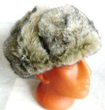 Russian Faux Wolf Fur Ushanka Quality Hat Face Mask Size L 58 cm
