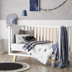 Adairs Kids Boy Bandit COT (Jnr Bed) Quilt Cover Set - check blue- reversible