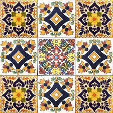 SET A014) 9 MEXICAN TILES CERAMIC TALAVERA MEXICO HAND MADE ART TALAVERA TILE