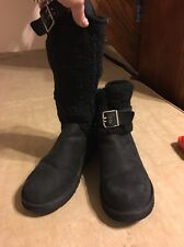 Ugg Cambridge Black Suede Sweater Knit Boot Buckle Knee High Ankle Sz 9 GREAT