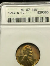 1954-S Lincoln Cent Superb Gem BU ANACS MS-67 RD #3711