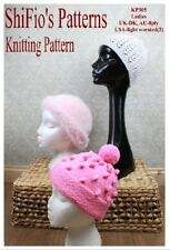 KNITTING PATTERN for 3 LADIES HATS, LACEY, EYELASH #305 NOT CLOTHES