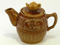"Vintage Talke O'th Hill Pottery Small  ""Tea Time"" Tea Pot Barrel Shape & Design"