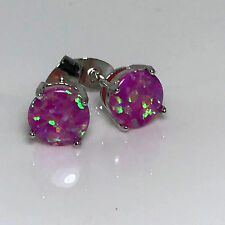 New 925 Sterling Silver Round Pink Fire Australian Opal Stud Earrings