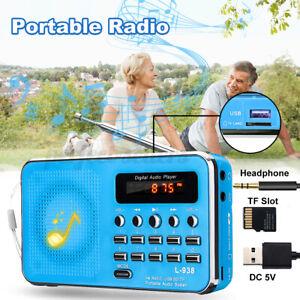 Portable Pocket Radio Mini Digital AM FM Speaker MP3 Music Player Rechargeable