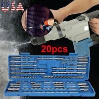 20 pcs Steel Rotary Hammer Drill SDS + Plus Bit Bits Chisel Concrete Tool Set US