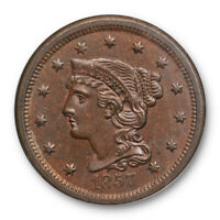 1857 1C Small Date Braided Hair Large Cent NGC MS 63 BN Uncirculated Tough Ke...