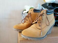 Tan Wedge Ankle Boots Size 7 Comfy
