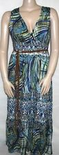 NY Collection SIZE LARGE Sleeveless Maxi Printed Belted Dress NEW