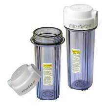 """2 WATER FILTER Clear HOUSING 10"""" STANDARD 1/4"""" Port 2 O-Rings Value Packs"""
