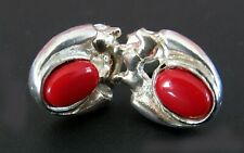 Natural Red Coral 925 Sterling Silver Earrings