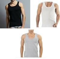 3 x MENS VESTS 100% Cotton TANK TOP SUMMER TRAINING GYM TOPS PACK PLAIN S-2XL