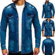Jeanshemd Herrenhemd Freizeithemd Hemd Jeans Casual Men Denim Herren BOLF Motiv