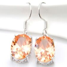 Europe Popular Womna Natural Honey Morganite Gems Silver Dangle Hook Earrings