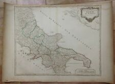 ITALY KINGDOM OF NAPOLI by ROBERT DE VAUGONDY 18e CENTURY LARGE ENGRAVED MAP