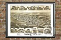 Old Map of Mahanoy City, PA from 1889 - Vintage Pennsylvania Art Historic Decor
