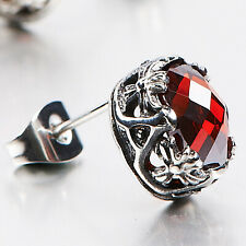 Silver stud red cz stainless steel oval cross claw earring SINGLE new arrival