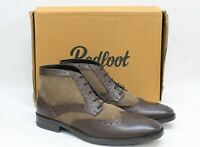 REDFOOT Men's Alfred Brown Leather Stone Suede Gatsby Brogue Boots UK8 EU42 NEW