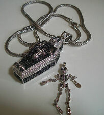Silver Finish Hip Hop Bling Coffin Pendant/ Skeleton rapper style w/ 36''Chain