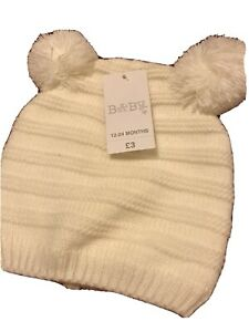 Baby Boy Or Girl Matalan Cream Bobble Hat Size 12-24 Months New With Tags