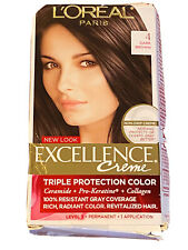 NWT L'Oreal Paris Excellence Creme Triple Protection Hair Color 4 Dark Brown