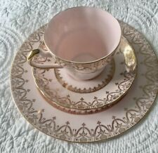 Tuscan Trio Cup Saucer Plate 22Kt Gold, Pale Pink, Imperial, Fine Bone China Eng
