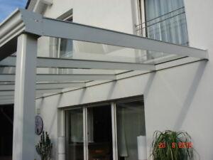 Terrassendach VSG Glas 8mm Terrassenüberdachung Alu weiss   5 x 3m Wintergarten
