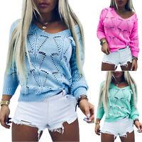 Women Autumn Knitted Sweater Loose Pullover Jumper Casual Tops Blouse Antumn UK