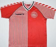 1986 Danimarca hummel calcio CASA Maglietta (Taglia LB)