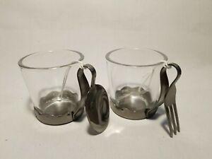 Yankee Candle Votive Tea Light Candle Holder Spoon Fork set Glass Metal NEW