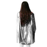 Cool Metallic Superhero Constume Cape Cloak Cosplay Fancy Dress 90cm Silver