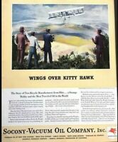 1937 Wings Over Kitty Hawk Plane Vintage Advertisement Print Art Ad Poster LG86
