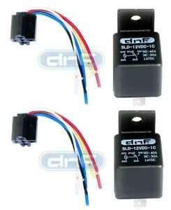 12V 30 40A SPDT Bosch Style Automotive Relays & 5 Wire Socket Harness (2/Pack)