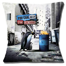 """NEW PENGUIN & YOUNG 'YOU CAN HELP STOP GLOBAL WARMING' 16"""" Pillow Cushion Cover"""