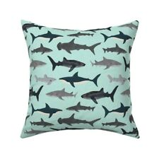 Sharks Mint Ocean Predator Baby Throw Pillow Cover w Optional Insert by Roostery