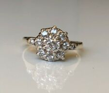 English 18k solid gold & 0.55ct diamond cluster ring 2.55g size K 1/2 - 5 3/8
