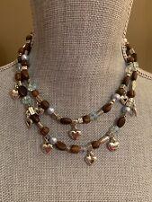 Brighton Zen Garden Wood Bead Blue Pearl AB Bead Silver Heart 2 Strand Necklace