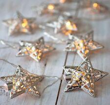 Light Styles 10 White LED Filigree Star Shaped String Lights Battery Operated