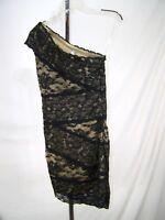 Avec Medium 7 9 Juniors Sz Black Beige Lace One Shoulder Cap Sleeve Lined Dress