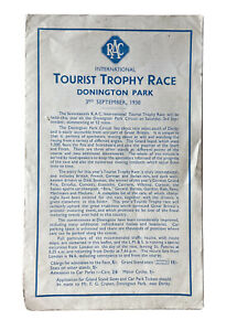 Donnington Park Tourist Trophy Race 1938 Programme Dreyfus, Seaman, Bira Etc