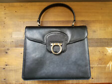 d802801587 Salvatore Ferragamo Katia Flap Satchel Bag in Black Saffiano Leather