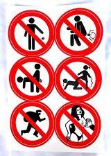 1Bg= 6 AUFKLEBER  Sticker Verbotsschild nicht nicht grapschen klauen kein müll
